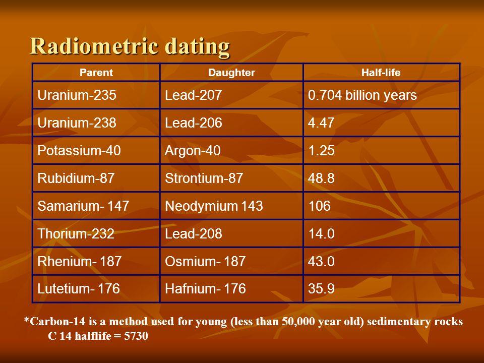 Radiometric dating ParentDaughterHalf-life Uranium-235Lead-2070.704 billion years Uranium-238Lead-2064.47 Potassium-40Argon-401.25 Rubidium-87Strontiu