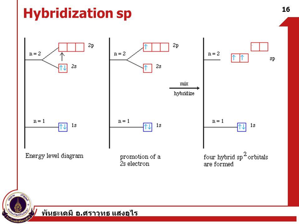 พันธะเคมี อ. ศราวุทธ แสงอุไร 16 Hybridization sp