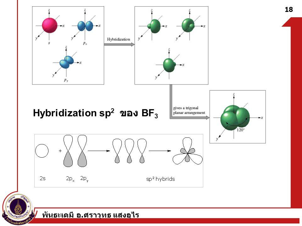 พันธะเคมี อ. ศราวุทธ แสงอุไร 18 Hybridization sp 2 ของ BF 3
