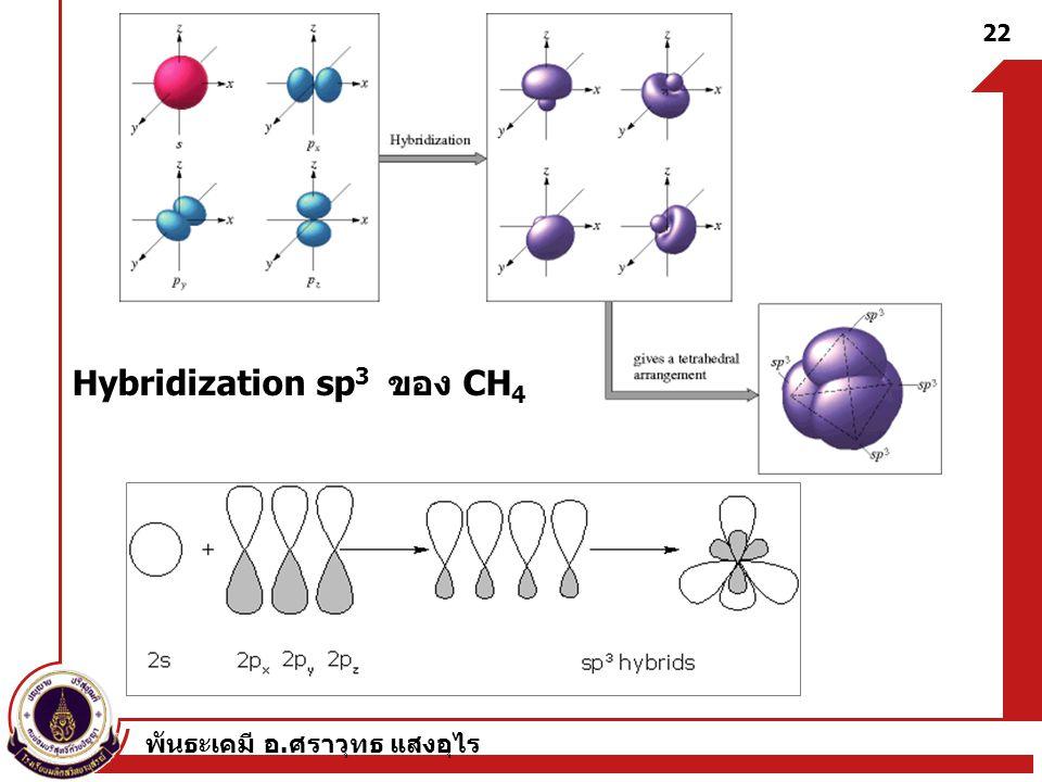 พันธะเคมี อ. ศราวุทธ แสงอุไร 22 Hybridization sp 3 ของ CH 4