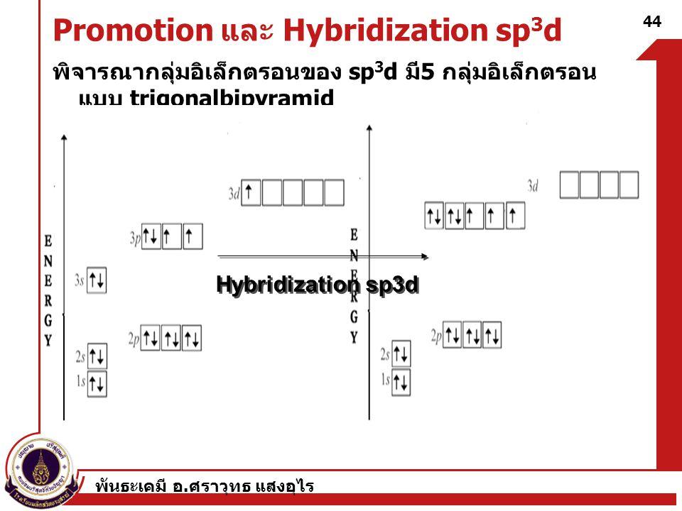 พันธะเคมี อ. ศราวุทธ แสงอุไร 44 Promotion และ Hybridization sp 3 d พิจารณากลุ่มอิเล็กตรอนของ sp 3 d มี 5 กลุ่มอิเล็กตรอน แบบ trigonalbipyramid Hybridi