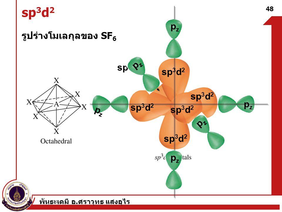 พันธะเคมี อ. ศราวุทธ แสงอุไร 48 sp 3 d 2 รูปร่างโมเลกุลของ SF 6 sp 3 d 2 pzpz pzpz pzpz pzpz pzpz pzpz
