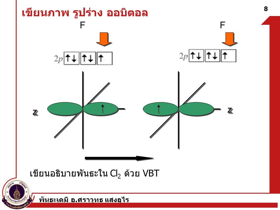 พันธะเคมี อ. ศราวุทธ แสงอุไร 9 การใช้ VBT ในการอธิบายการเกิดของ O 2