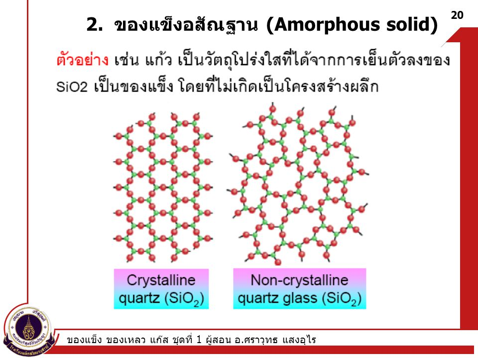 ของแข็ง ของเหลว แก๊ส ชุดที่ 1 ผู้สอน อ. ศราวุทธ แสงอุไร 20 2. ของแข็งอสัณฐาน (Amorphous solid)