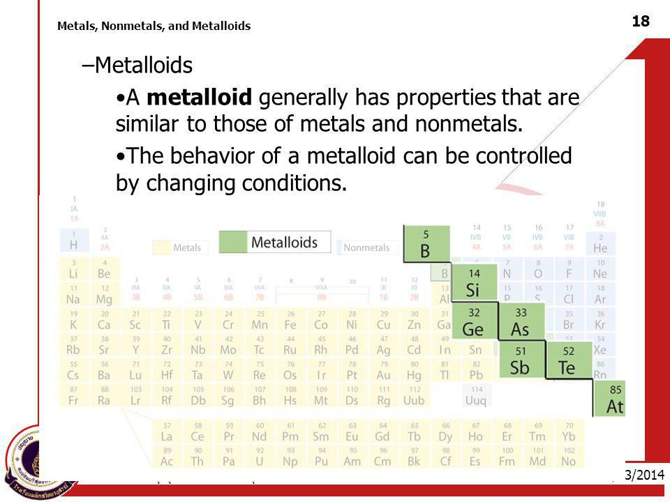 7/23/2014 ตารางธาตุชุดที่1 อ.ศราวุทธ 18 Metals, Nonmetals, and Metalloids –Metalloids A metalloid generally has properties that are similar to those o