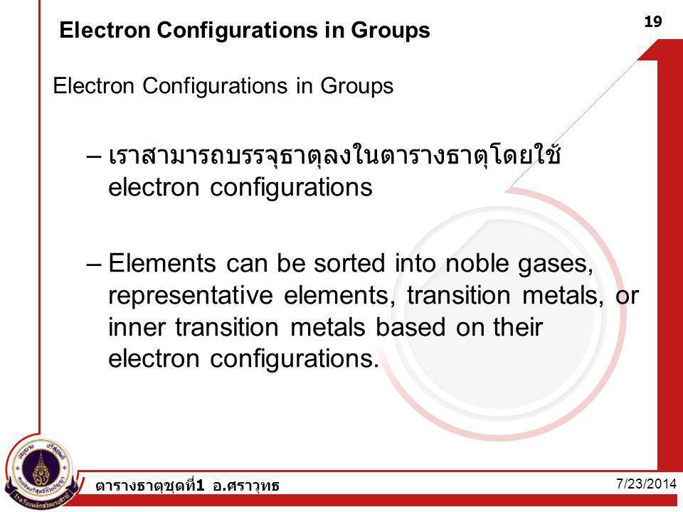 7/23/2014 ตารางธาตุชุดที่1 อ.ศราวุทธ 19 Electron Configurations in Groups – เราสามารถบรรจุธาตุลงในตารางธาตุโดยใช้ electron configurations –Elements ca