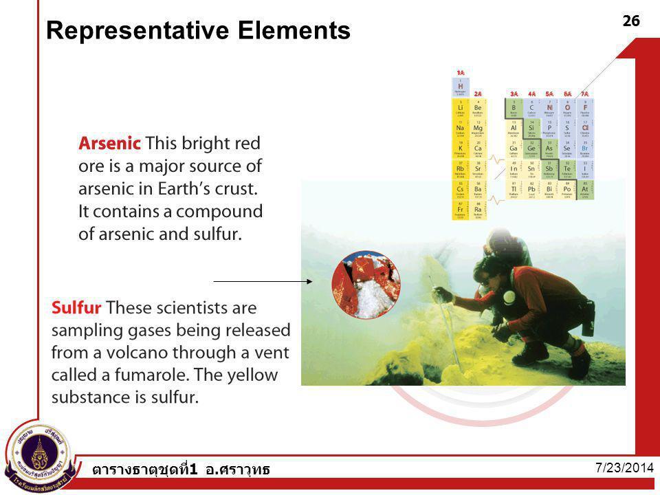 7/23/2014 ตารางธาตุชุดที่1 อ.ศราวุทธ 26 Representative Elements