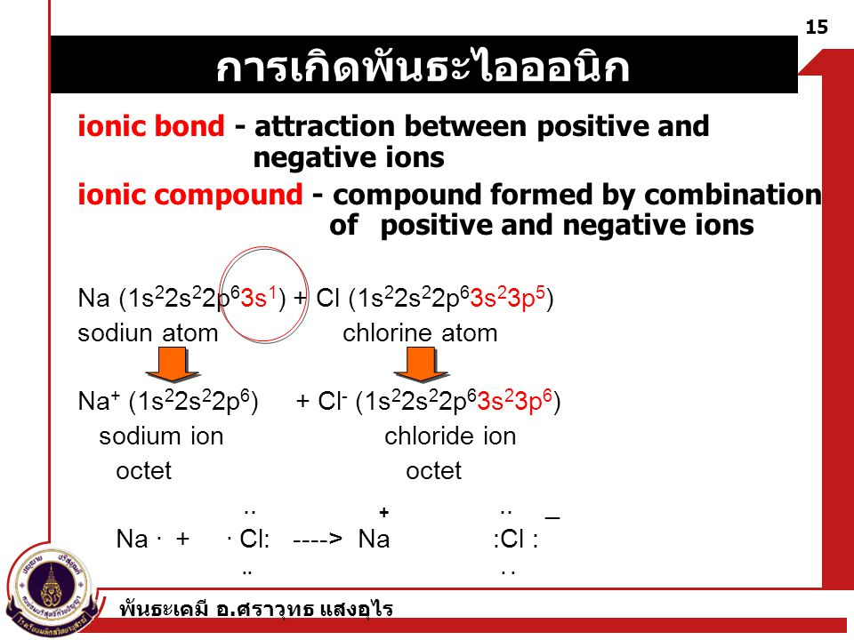 พันธะเคมี อ. ศราวุทธ แสงอุไร 15 ionic bond - attraction between positive and negative ions ionic compound - compound formed by combination of positive