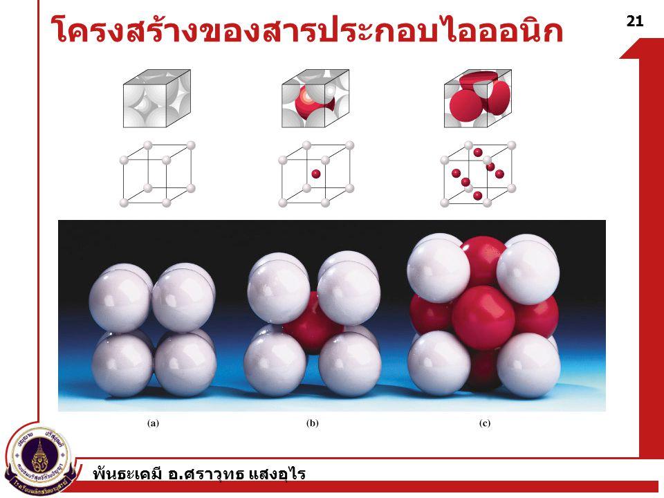 พันธะเคมี อ. ศราวุทธ แสงอุไร 21 โครงสร้างของสารประกอบไอออนิก