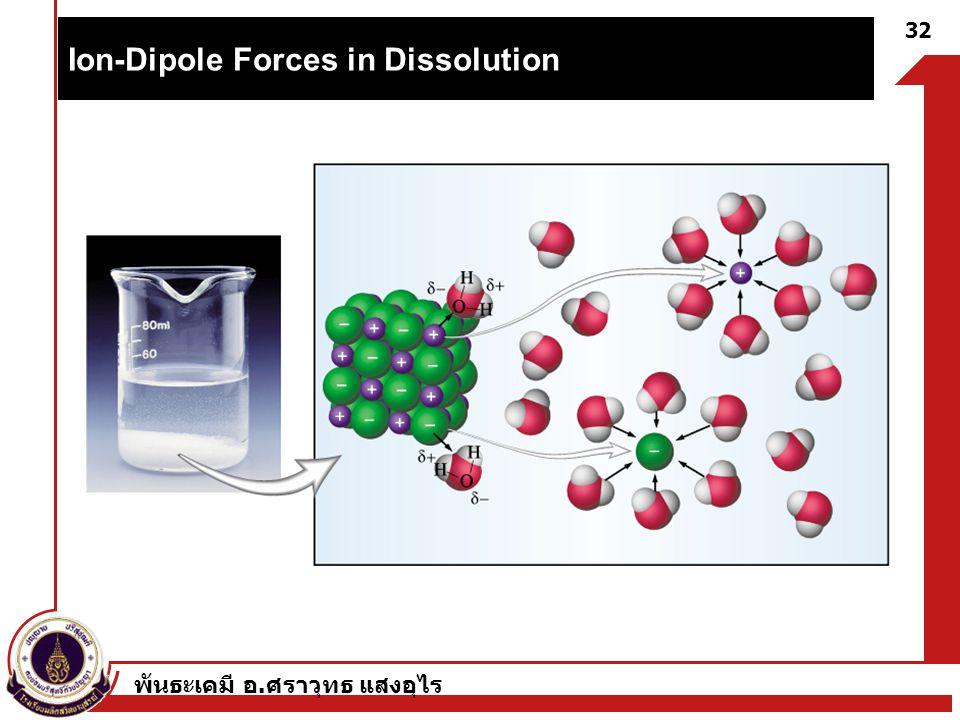 พันธะเคมี อ. ศราวุทธ แสงอุไร 32 Ion-Dipole Forces in Dissolution