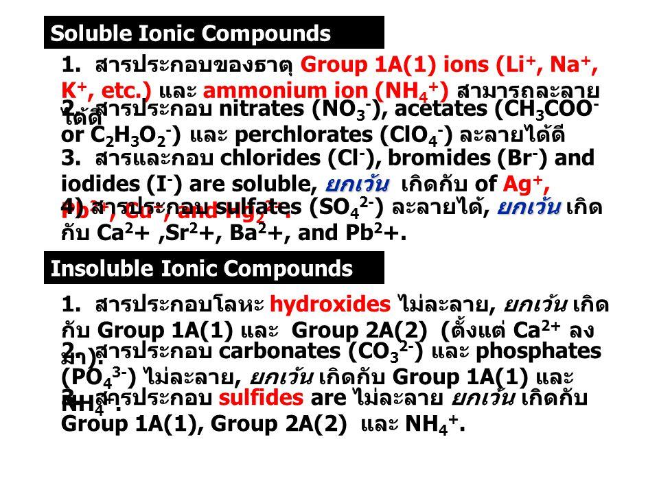 พันธะเคมี อ. ศราวุทธ แสงอุไร 39 1. สารประกอบของธาตุ Group 1A(1) ions (Li +, Na +, K +, etc.) และ ammonium ion (NH 4 + ) สามารถละลาย ได้ดี 2. สารประกอบ