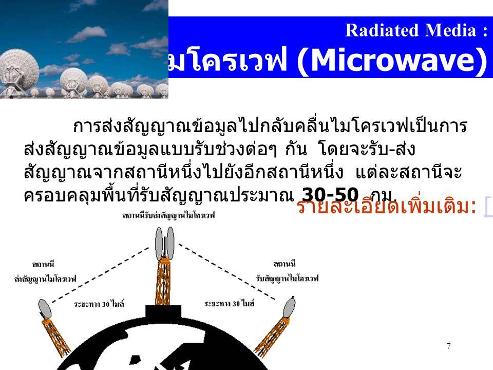 Computer DepartmentMahidol Witthayanusorn School7 Radiated Media : คลื่นไมโครเวฟ (Microwave) การส่งสัญญาณข้อมูลไปกลับคลื่นไมโครเวฟเป็นการ ส่งสัญญาณข้อมูลแบบรับช่วงต่อๆ กัน โดยจะรับ - ส่ง สัญญาณจากสถานีหนึ่งไปยังอีกสถานีหนึ่ง แต่ละสถานีจะ ครอบคลุมพื้นที่รับสัญญาณประมาณ 30-50 กม.