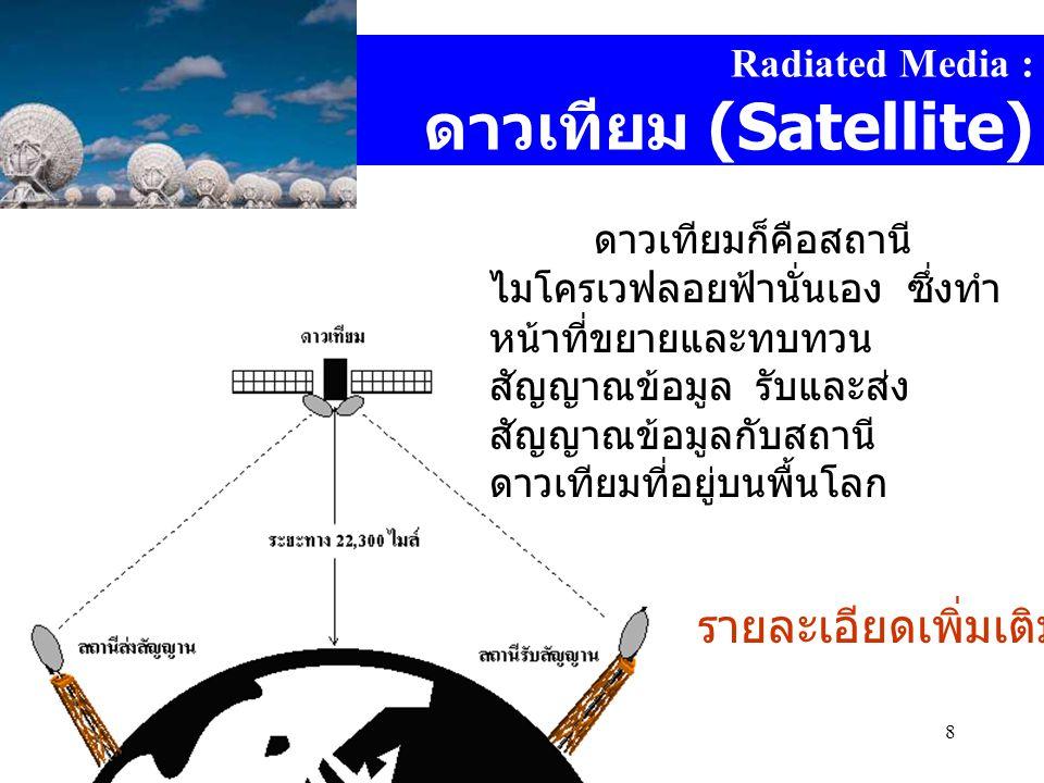 Computer DepartmentMahidol Witthayanusorn School8 Radiated Media : ดาวเทียม (Satellite) ดาวเทียมก็คือสถานี ไมโครเวฟลอยฟ้านั่นเอง ซึ่งทำ หน้าที่ขยายและทบทวน สัญญาณข้อมูล รับและส่ง สัญญาณข้อมูลกับสถานี ดาวเทียมที่อยู่บนพื้นโลก รายละเอียดเพิ่มเติม : [1][1]