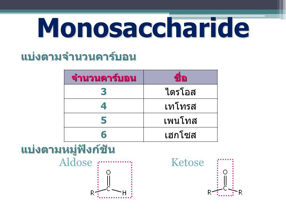 แบ่งตามจำนวนคาร์บอน แบ่งตามหมู่ฟังก์ชัน Aldose Ketose Monosaccharide จำนวนคาร์บอนชื่อ 3 ไตรโอส 4 เทโทรส 5 เพนโทส 6 เฮกโซส