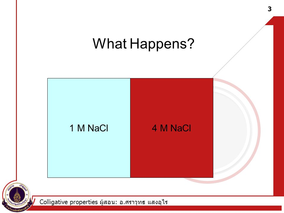 Colligative properties ผู้สอน : อ. ศราวุทธ แสงอุไร 1 M NaCl4 M NaCl What Happens? 3