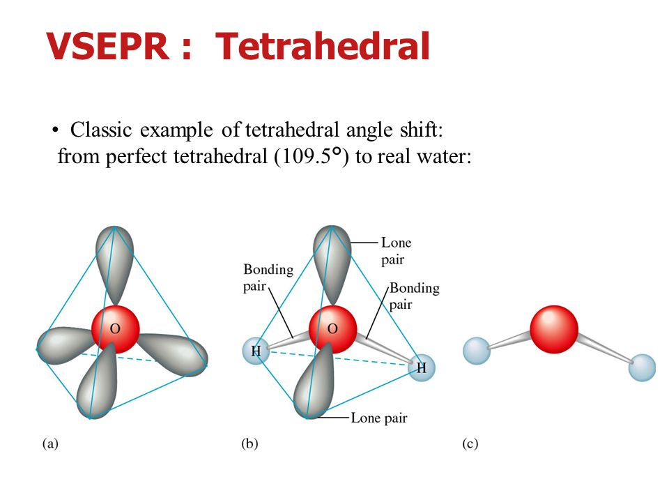 พันธะเคมี อ. ศราวุทธ แสงอุไร 11 Classic example of tetrahedral angle shift: from perfect tetrahedral (109.5°) to real water: VSEPR : Tetrahedral