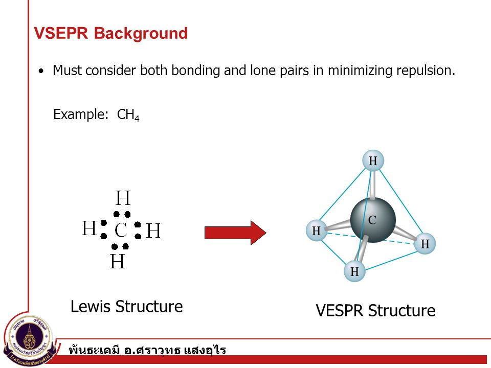 พันธะเคมี อ. ศราวุทธ แสงอุไร 3 Example: CH 4 Must consider both bonding and lone pairs in minimizing repulsion. Lewis Structure VESPR Structure VSEPR