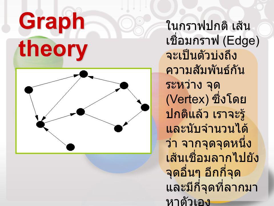 Graph theory ในกราฟปกติ เส้น เชื่อมกราฟ (Edge) จะเป็นตัวบ่งถึง ความสัมพันธ์กัน ระหว่าง จุด (Vertex) ซึ่งโดย ปกติแล้ว เราจะรู้ และนับจำนวนได้ ว่า จากจุ