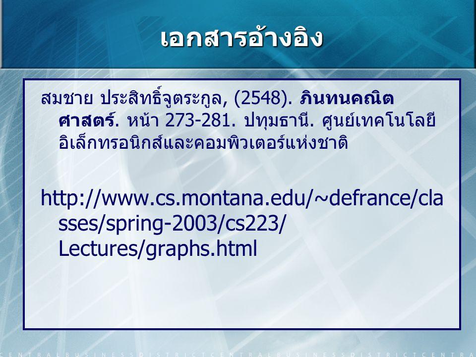 เอกสารอ้างอิง สมชาย ประสิทธิ์จูตระกูล, (2548). ภินทนคณิต ศาสตร์. หน้า 273-281. ปทุมธานี. ศูนย์เทคโนโลยี อิเล็กทรอนิกส์และคอมพิวเตอร์แห่งชาติ http://ww