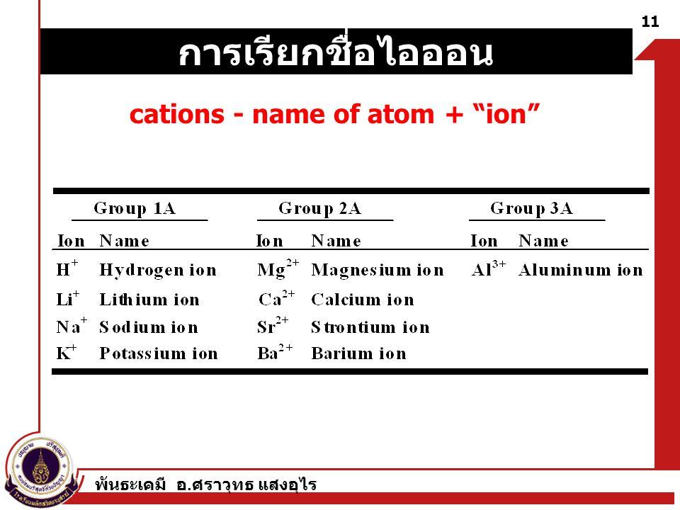 """พันธะเคมี อ. ศราวุทธ แสงอุไร 11 cations - name of atom + """"ion"""" การเรียกชื่อไอออน"""
