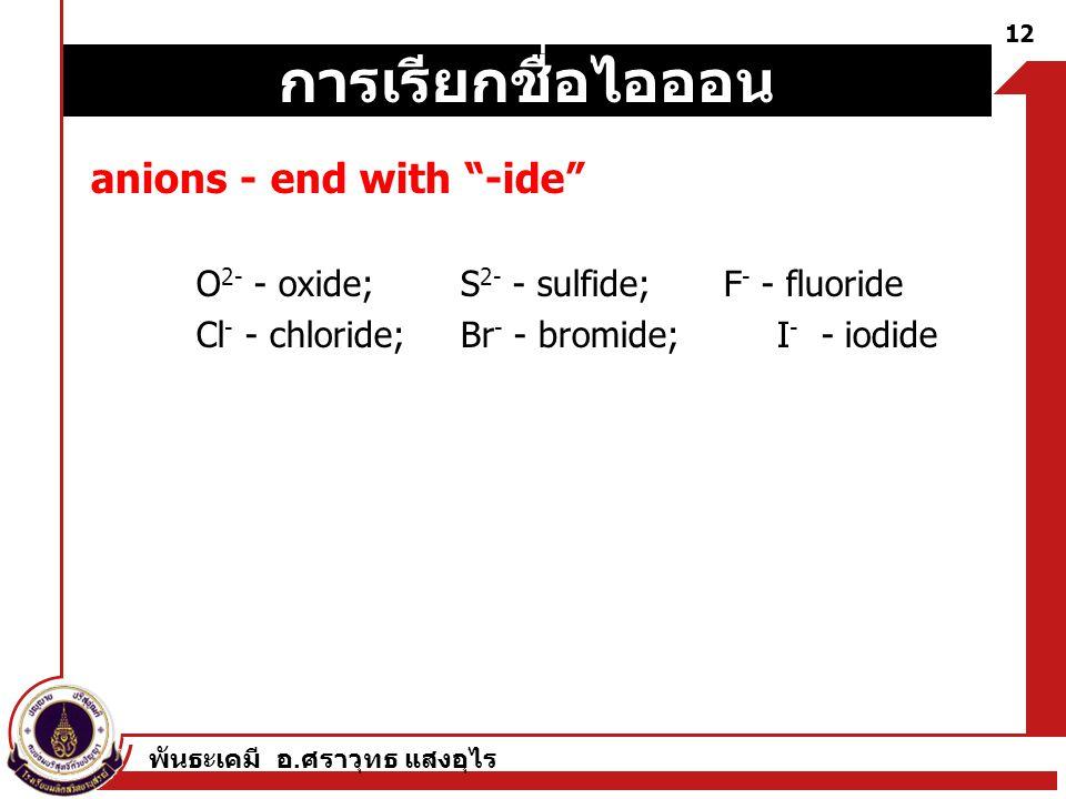 """พันธะเคมี อ. ศราวุทธ แสงอุไร 12 anions - end with """"-ide"""" O 2- - oxide; S 2- - sulfide;F - - fluoride Cl - - chloride; Br - - bromide; I - - iodide การ"""