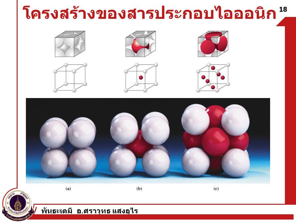 พันธะเคมี อ. ศราวุทธ แสงอุไร 18 โครงสร้างของสารประกอบไอออนิก
