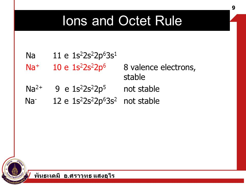 พันธะเคมี อ. ศราวุทธ แสงอุไร 9 Chapter 3. Chemical Bonds Na 11 e 1s 2 2s 2 2p 6 3s 1 Na + 10 e 1s 2 2s 2 2p 6 8 valence electrons, stable Na 2+ 9 e 1s