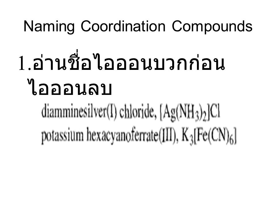 Naming Coordination Compounds 1. อ่านชื่อไอออนบวกก่อน ไอออนลบ