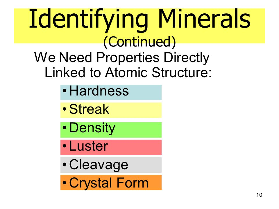 10 Identifying Minerals (Continued) We Need Properties Directly Linked to Atomic Structure: Hardness Streak Density Luster Cleavage Crystal Form