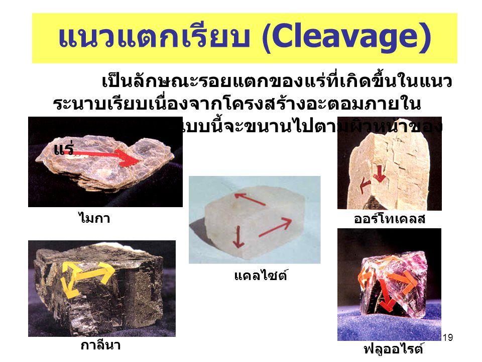 19 แนวแตกเรียบ (Cleavage) ไมกา เป็นลักษณะรอยแตกของแร่ที่เกิดขื้นในแนว ระนาบเรียบเนื่องจากโครงสร้างอะตอมภายใน ผลึก รอยแตก แบบนี้จะขนานไปตามผิวหน้าของ แ