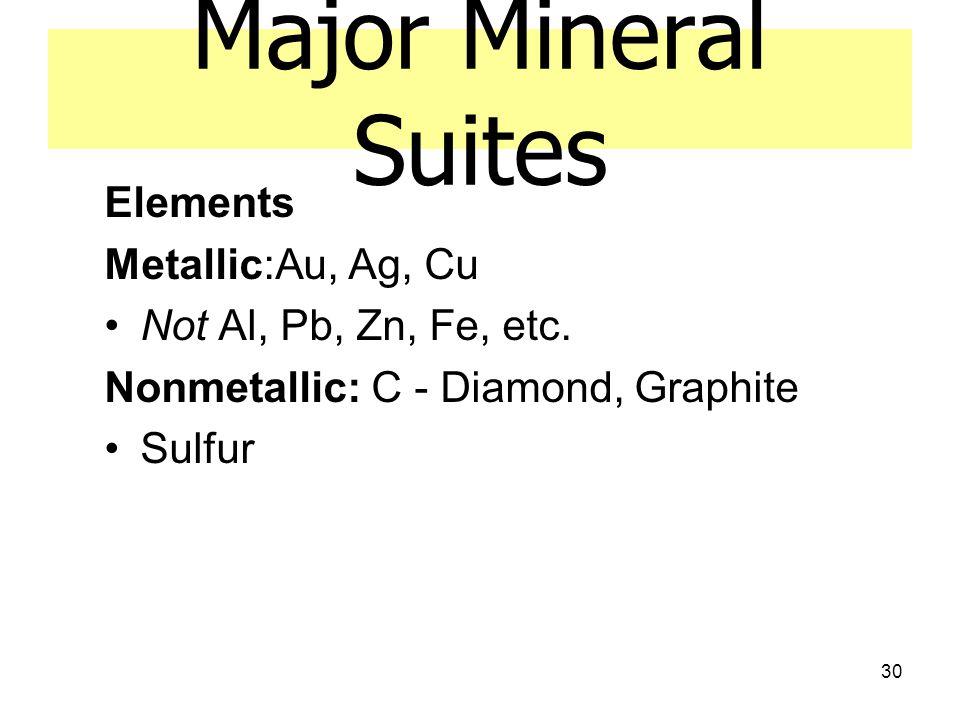30 Major Mineral Suites Elements Metallic:Au, Ag, Cu Not Al, Pb, Zn, Fe, etc. Nonmetallic: C - Diamond, Graphite Sulfur