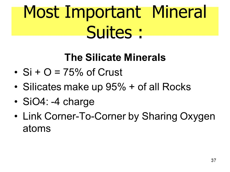 37 Most Important Mineral Suites : The Silicate Minerals Si + O = 75% of Crust Silicates make up 95% + of all Rocks SiO4: -4 charge Link Corner-To-Corner by Sharing Oxygen atoms