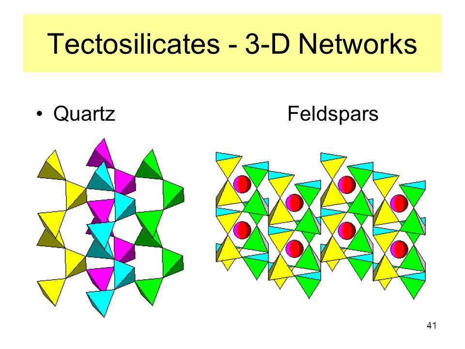 41 Tectosilicates - 3-D Networks Quartz Feldspars