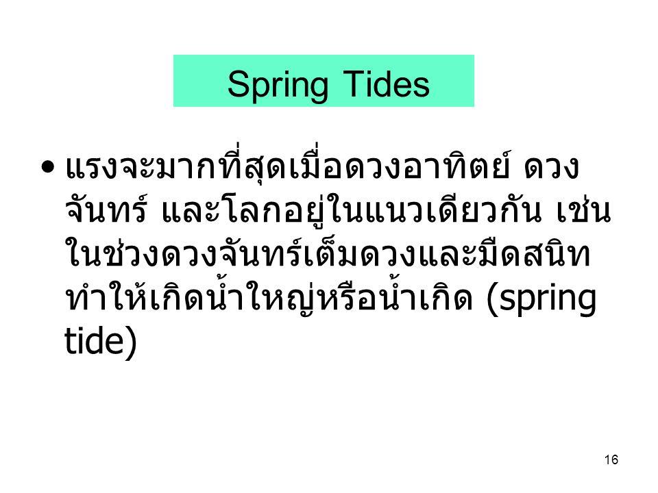 16 Spring Tides แรงจะมากที่สุดเมื่อดวงอาทิตย์ ดวง จันทร์ และโลกอยู่ในแนวเดียวกัน เช่น ในช่วงดวงจันทร์เต็มดวงและมืดสนิท ทำให้เกิดน้ำใหญ่หรือน้ำเกิด (sp