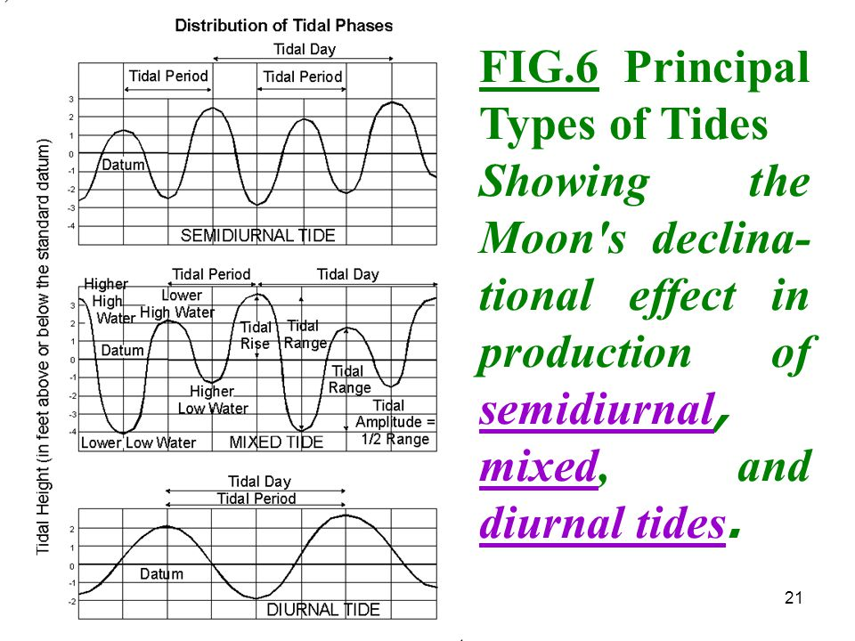21 FIG.6 Principal Types of Tides Showing the Moon's declina- tional effect in production of semidiurnal, mixed, and diurnal tides.