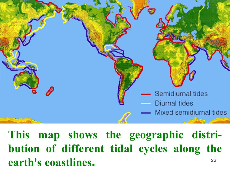 22 This map shows the geographic distri- bution of different tidal cycles along the earth's coastlines.