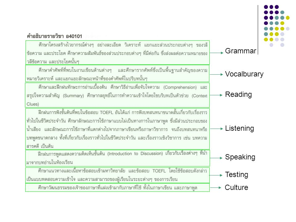 Grammar Vocalburary Reading Listening Speaking Testing Culture