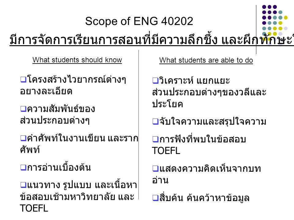 Scope of ENG 40202 What students should know What students are able to do  โครงสร้างไวยากรณ์ต่างๆ อยางละเอียด  ความสัมพันธ์ของ ส่วนประกอบต่างๆ  คำศ