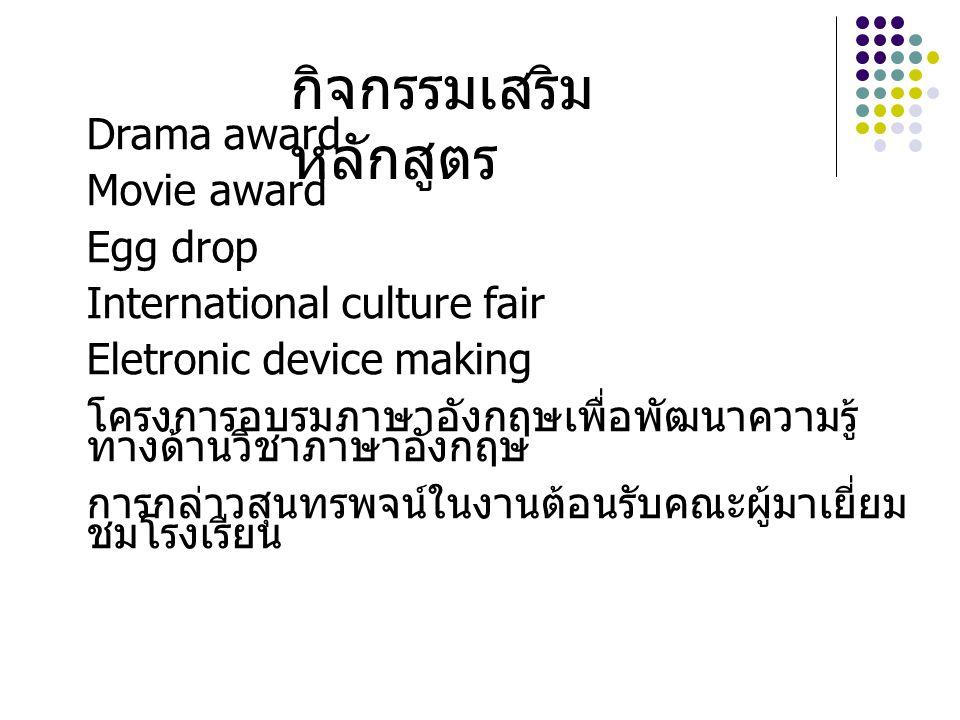 Drama award Movie award Egg drop International culture fair Eletronic device making โครงการอบรมภาษาอังกฤษเพื่อพัฒนาความรู้ ทางด้านวิชาภาษาอังกฤษ การกล