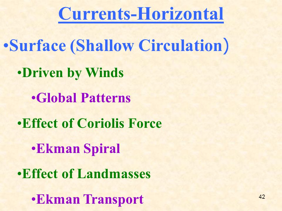 42 Currents-Horizontal Surface (Shallow Circulation) Driven by Winds Global Patterns Effect of Coriolis Force Ekman Spiral Effect of Landmasses Ekman