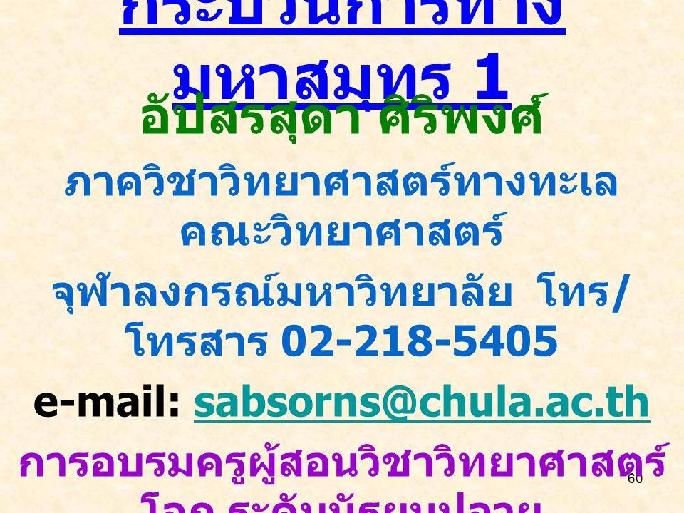 60 กระบวนการทาง มหาสมุทร 1 อัปสรสุดา ศิริพงศ์ ภาควิชาวิทยาศาสตร์ทางทะเล คณะวิทยาศาสตร์ จุฬาลงกรณ์มหาวิทยาลัย โทร / โทรสาร 02-218-5405 e-mail: sabsorns