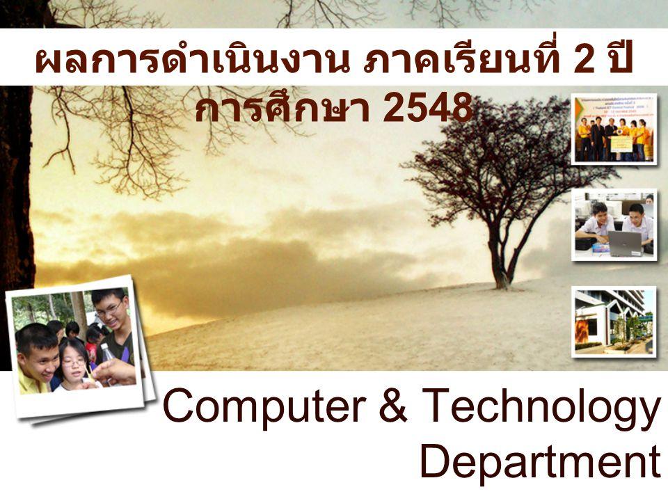 Computer & Technology Department ผลการดำเนินงาน ภาคเรียนที่ 2 ปี การศึกษา 2548