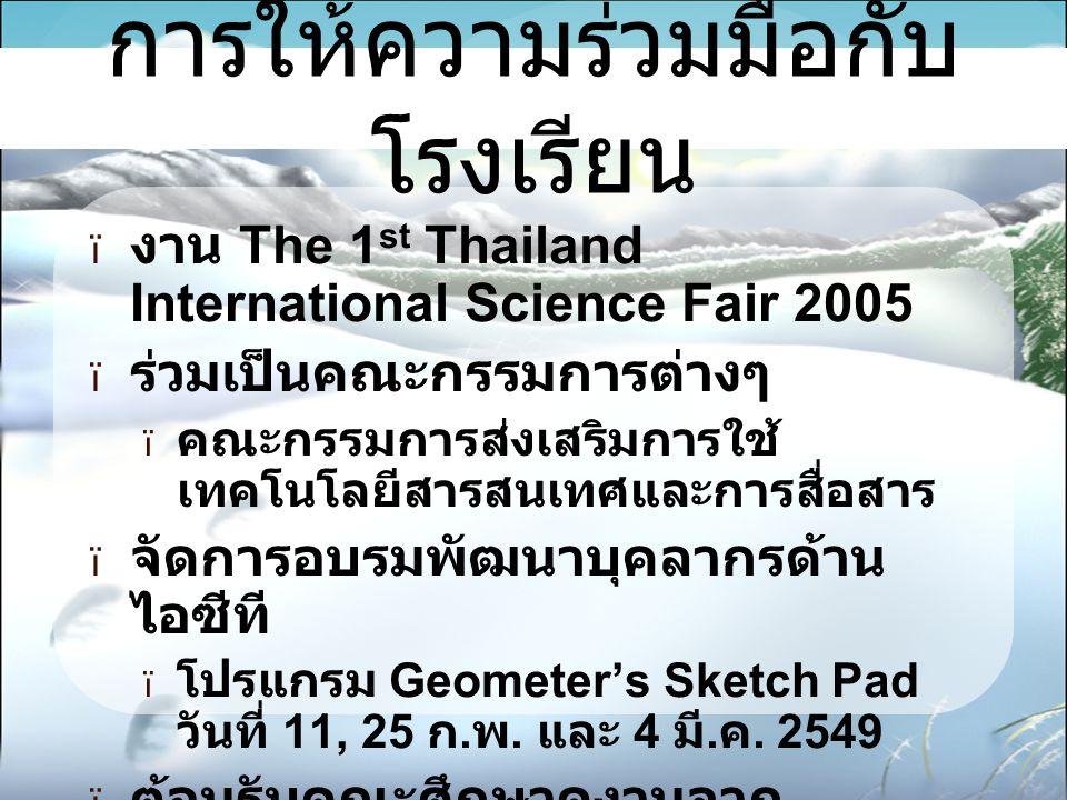  งาน The 1 st Thailand International Science Fair 2005  ร่วมเป็นคณะกรรมการต่างๆ  คณะกรรมการส่งเสริมการใช้ เทคโนโลยีสารสนเทศและการสื่อสาร  จัดการอบรมพัฒนาบุคลากรด้าน ไอซีที  โปรแกรม Geometer's Sketch Pad วันที่ 11, 25 ก.
