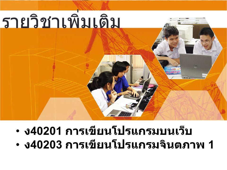 รายวิชาเพิ่มเติม ง 40201 การเขียนโปรแกรมบนเว็บ ง 40203 การเขียนโปรแกรมจินตภาพ 1