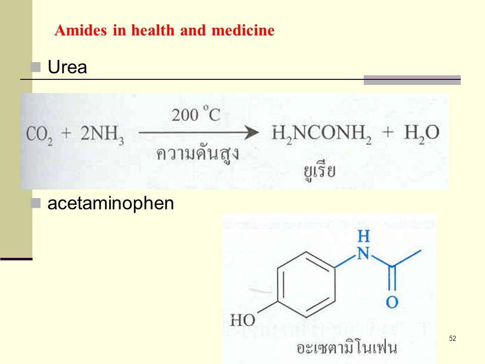 52 Amides in health and medicine Urea acetaminophen