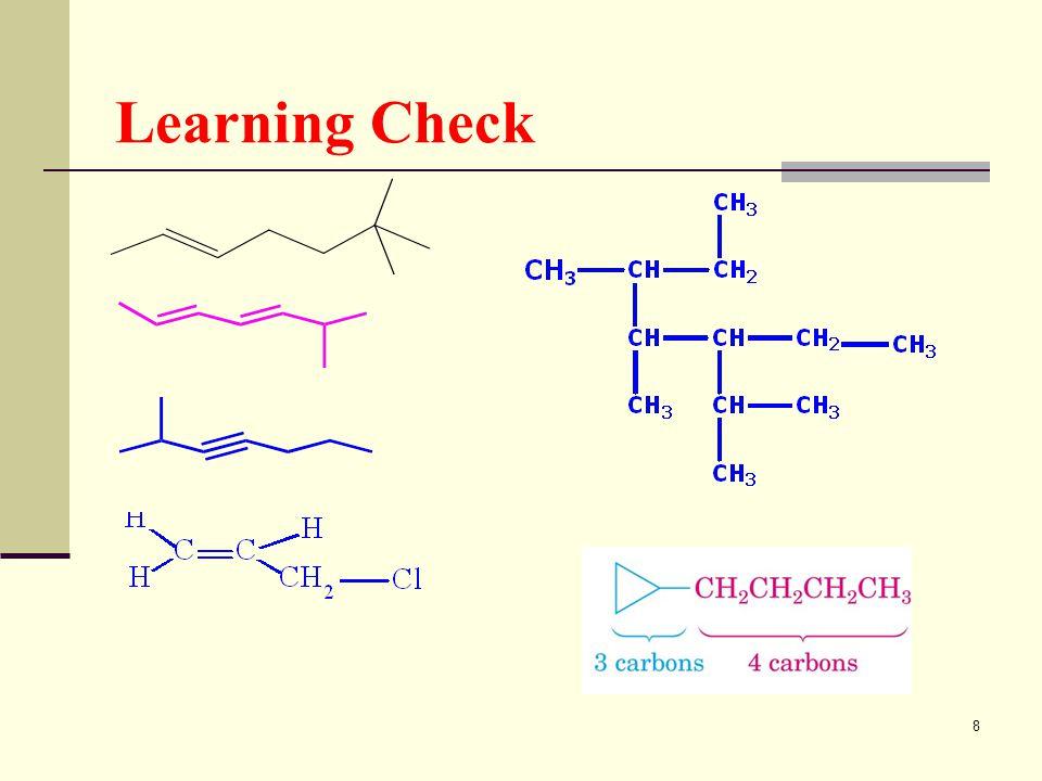 9 Naming of Alicyclic Hydrocarbon Cyclo + จำนวน C ( ภาษากรีก ) ลงท้ายเสียงด้วย _ane (alkane), _ene (alkene), _yne (alkyne) ระบุตำแหน่งหมู่ฟังก์ชันด้วยตำแหน่งที่ 1 เสมอ ถ้ามีหมู่แทนที่ให้ระบุตำแหน่งหมู่แทนที่ที่เป็นหมู่เล็กด้วย เลขต่ำ แล้วอ่าน เรียงตามลำดับตัวอักษร Prefix บอกจำนวน (di, tri, tetra) และ ไฮเฟน (tert-, sec-) ไม่ถือเป็น ส่วนหนึ่งของการเรียงตัวอักษร แต่ cyclo, iso, neo ให้ถือเป็นส่วน ของการเรียงลำดับอักษร