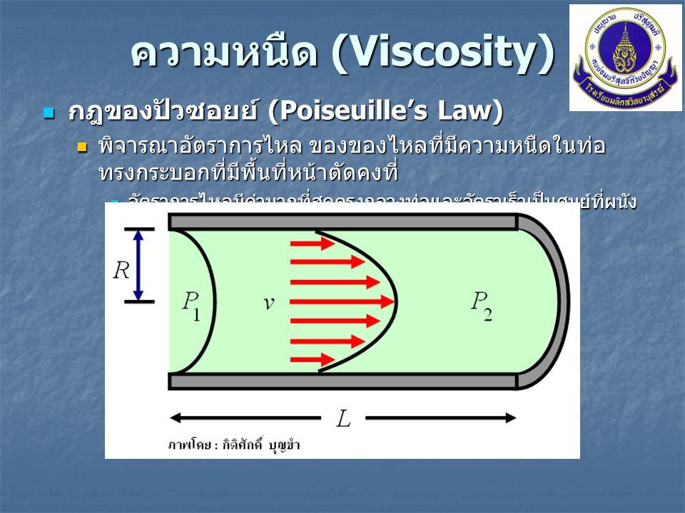 ความหนืด (Viscosity) กฎของปัวซอยย์ (Poiseuille's Law) กฎของปัวซอยย์ (Poiseuille's Law) พิจารณาชั้นลามินาที่มีรัศมี r จากสมการ พิจารณาชั้นลามินาที่มีรัศมี r จากสมการ จะได้สมการที่บรรยายอัตราเร็วของการไหลที่ตำแหน่งต่าง ๆ บนหน้าตัดทรงกระบอก จะได้สมการที่บรรยายอัตราเร็วของการไหลที่ตำแหน่งต่าง ๆ บนหน้าตัดทรงกระบอก