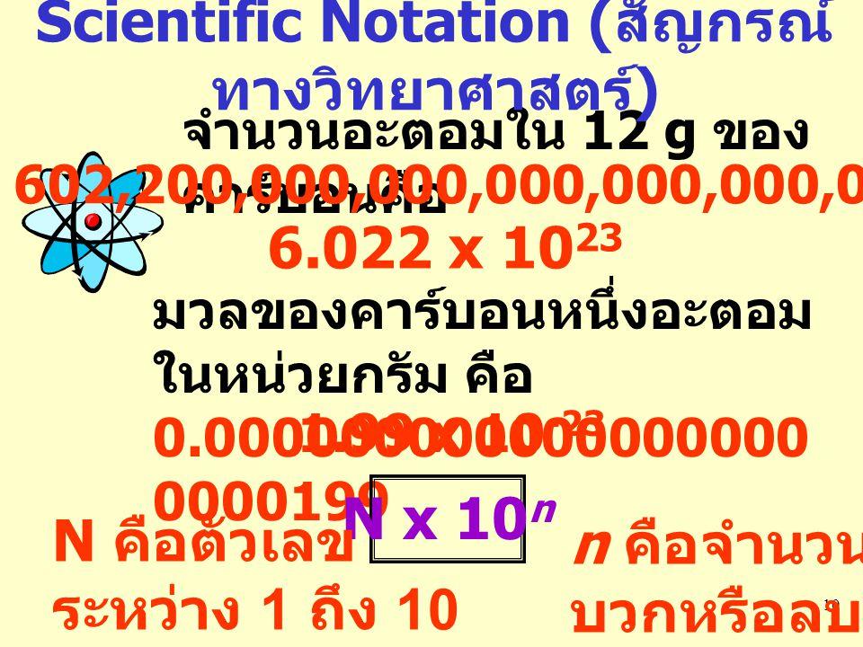 10 จำนวนอะตอมใน 12 g ของ คาร์บอนคือ 602,200,000,000,000,000,000,000 6.022 x 10 23 มวลของคาร์บอนหนึ่งอะตอม ในหน่วยกรัม คือ 0.000000000000000000 0000199