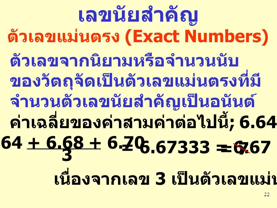 22 เลขนัยสำคัญ ตัวเลขแม่นตรง (Exact Numbers) ตัวเลขจากนิยามหรือจำนวนนับ ของวัตถุจัดเป็นตัวเลขแม่นตรงที่มี จำนวนตัวเลขนัยสำคัญเป็นอนันต์ ค่าเฉลี่ยของค่