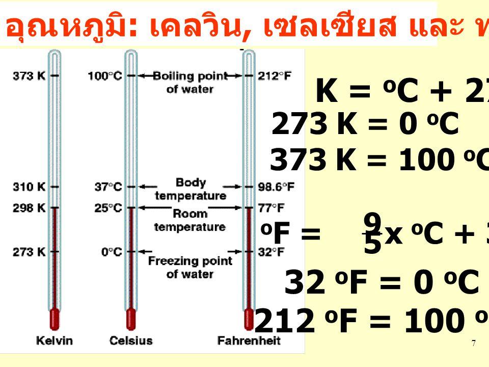 7 อุณหภูมิ : เคลวิน, เซลเซียส และ ฟาเรนไฮท์ K = o C + 273.15 273 K = 0 o C 373 K = 100 o C o F = x o C + 32 9 5 32 o F = 0 o C 212 o F = 100 o C
